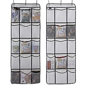 Misslo Over the Door Hanging Pantry Closet Accessories Organizer 15 Mesh Pockets , 2 Pack