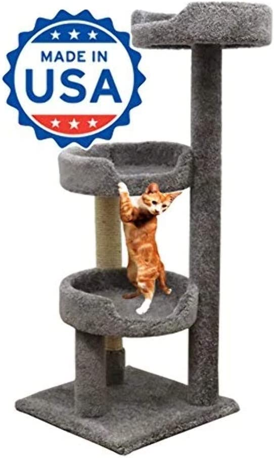 Cozycatfurniture 50 Inch Carpet Cat Tree Scratching For Large Cats Made In Usa Solid Wood Poles Sisal Scratching Post Gray Color Pet Supplies