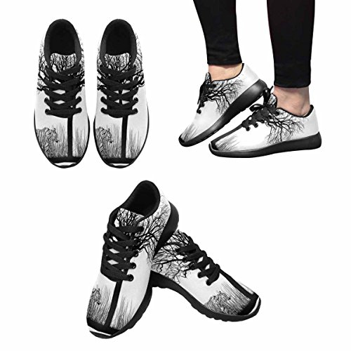 Interestprint Mujeres Trail Zapatillas Para Correr Jogging Ligero Deportes Walking Athletic Sneakers Tiger In Tall Dry Grass Under A Tree Multi 1