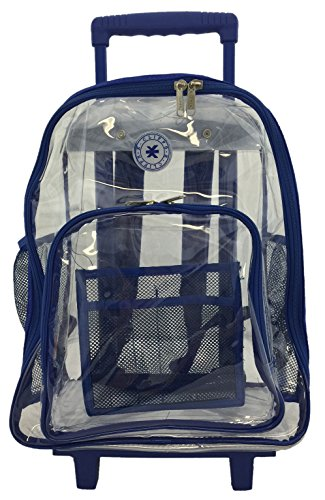 Rolling Clear Backpack Heavy Duty See Through Daypack School Bookbag Wheel Royal (Clear Backpack With Wheels)