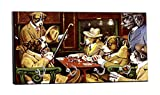 C.M. Coolidge's Dogs Playing Poker Painting - 5'' by 11'' Key Hanger Household Decoration with Four Hooks