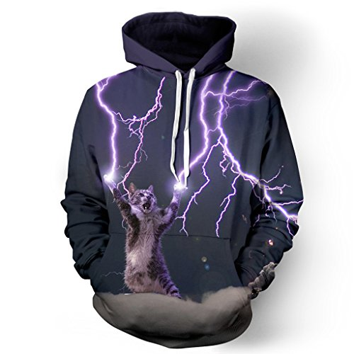 NEWCOSPLAY Unisex Realistic 3D Digital Print Pullover Hoodie Hooded Sweatshirt (L/XL, Lightning cat 2) ()