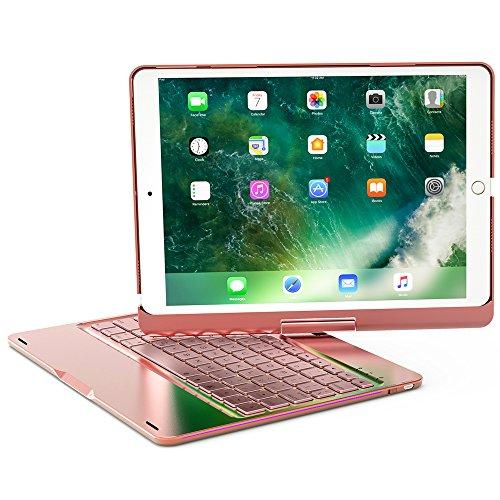 HIOTECH iPad Pro 9.7 Keyboard Case Rotating Folding Aluminum Alloy Keypad Cover for iPad Pro 9.7 with 7 LED Backlit Keys (Rose Gold)
