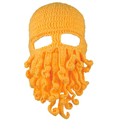 Dealzip Inc Fashion Awesome Yellow Winter Warm Novelty Unisex Knitted Wool Funny Octopus Mask Beard Caps Crochet Beanies Men Women Unisex