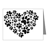 CafePress - Black Heart With Paws, Anima - Blank Note Cards (Pack of 20) Matte