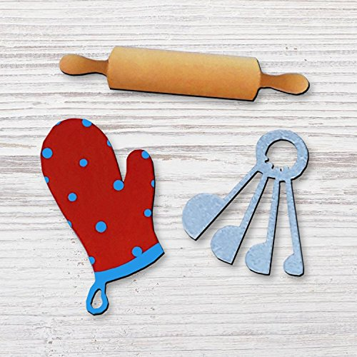 Baking Magnets Rolling Pin, Mitten, Measuring Cups - Set of 3