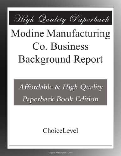 Modine Manufacturing Co  Business Background Report