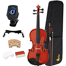 Kaizer Violin Acoustic Full Size 4/4 Classic Varnished Includes Case Bow Tuner and Accessories VLN-1000VA-4/4-TNR