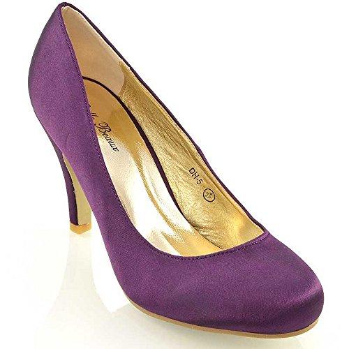 ESSEX GLAM Womens Mid Heel Bridal Party Purple Satin Court Shoes 9 B(M) US