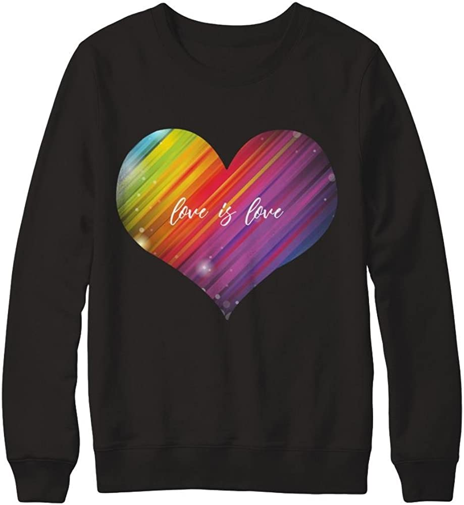 Pullover Sweatshirt Teely Shop Mens Womans Rainbow Heart Gay Lesbian Pride Gildan