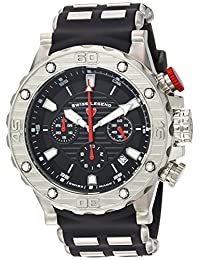 Swiss Legend Men's 'Hunter' Quartz Stainless Steel and Silicone Casual Watch, Color:Black (Model: 15253SM-01-RDA)