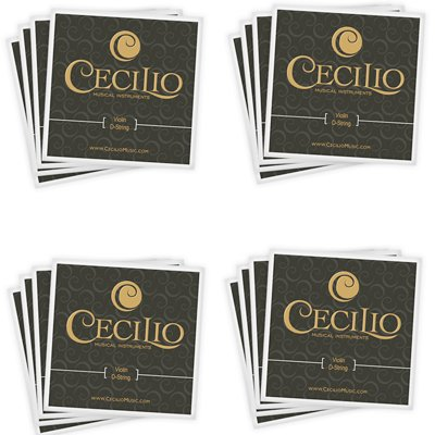 Cecilio 4 Packs of Stainless Steel 1/2 - 1/4 Violin Strings Set (Total 16 Strings)