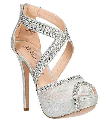Bridal Wedding Formal Evening Party Strap Peep Toe Lace Glitter Sandal VICE-93