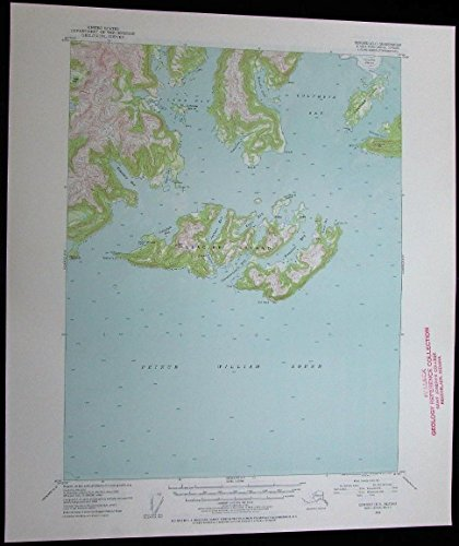 Seward Alaska Prince William Sound Glacier Island vintage 1954 USGS Topo chart - Glacier Island