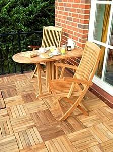 Ambiente - Juego de mesa ovalada plegada y sillas de teca para jardín (120 x 60 x 75 cm)