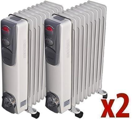 2 Estufas Caravanas Electricas Radiador Aceite Portatil 2000w 9fin