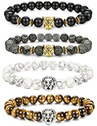 4 Pcs Lava Rock Bead Bracelet for Men Leopard Lion...