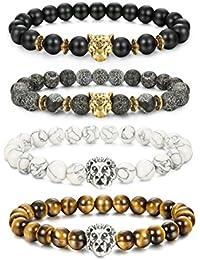 4 Pcs Lava Rock Bead Bracelet for Men Leopard Lion...