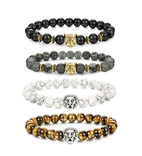 LOLIAS 4 Pcs Lava Rock Bead Bracelet for Men Leopard Lion Bracelet Set Adjustable 8MM Beads,Y ()