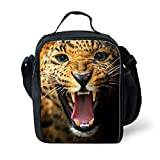 Insulated Lunch Bags For School With Bottle Holder Kids Lunch Box Snacks Tote Lunch Containers 3D Print Cheetah