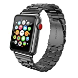 SWEES Stainless Steel Metal Bands Compatible iWatch 42mm Apple Watch Series 3, Series 2, Series 1, Sports & Edition, Replacement Metal Link Strap Double Button Butterfly Folding Clasp, Space Gray