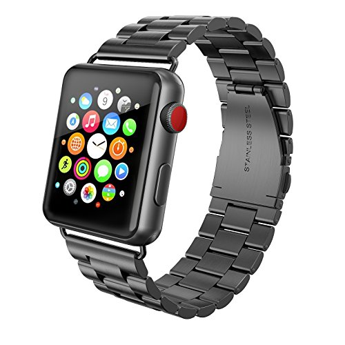 SWEES Stainless Steel Metal Bands Compatible iWatch 42mm Apple Watch Series 3, Series 2, Series 1, Sports & Edition, Replacement Metal Link Strap Double Button Butterfly Folding Clasp, Space Gray by SWEES