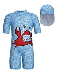 Jurebecia Toddler Girls Swimsuit Rash Guard UPF 50+ Short Sleeve One Piece Swimwear