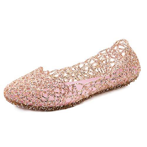 FEETCITY Women's Shoe Breathable Glitter Comfort Slip-on Ballet Flat Pink 6.5 B(M) US