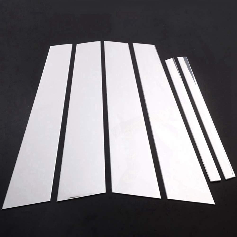 per 5 serie G30 2017 2018 Accessorio per veicolo auto esterno lucidato B C Kit pilastro per montante postino copertura Trim Alluminio lega argento 6 pezzi//set