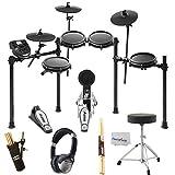 Alesis Nitro Mesh Electronic Drum Kit + DJ Headphones + On Stage Drum Stick Holder DA100 + Braced Drum Throne + Maple Wood 5B Drumsticks - Photo4Less Clean Cloth- Top Accessory Bundle