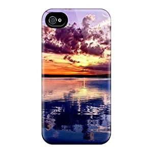Premium Sunset Over The Ocean Back Cover Snap On Case For Iphone 4/4s