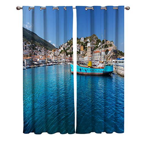 Window Treatments Curtains Room Window Panel Set for Living/Dining/Bedroom, Seaside Town Landscape 27.5 by 39 Inch, 2 Panels