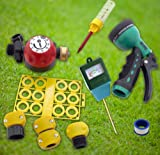 Ultimate Lawn & Garden Outdoor Water Saving Eco-kit, Hose Nozzle, Rain Gauge, Repair & Conserve, Moisture Sensor, Hose Timer