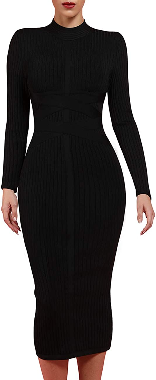 UONBOX Women's Long Sleeves Cross Strap Ribbed Club Party Midi Bodycon Bandage Dress