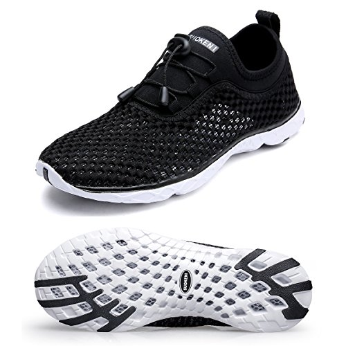 Hongyao Mens Water Shoes With Net Surface Quality Breathable Athletic Sport Lightweight For Walking Blackwhite 44 Eu 10 D M  Us