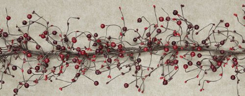 Garland - Country Berry Pips Burgundy Red - Primitive Rustic Twigs 4ft