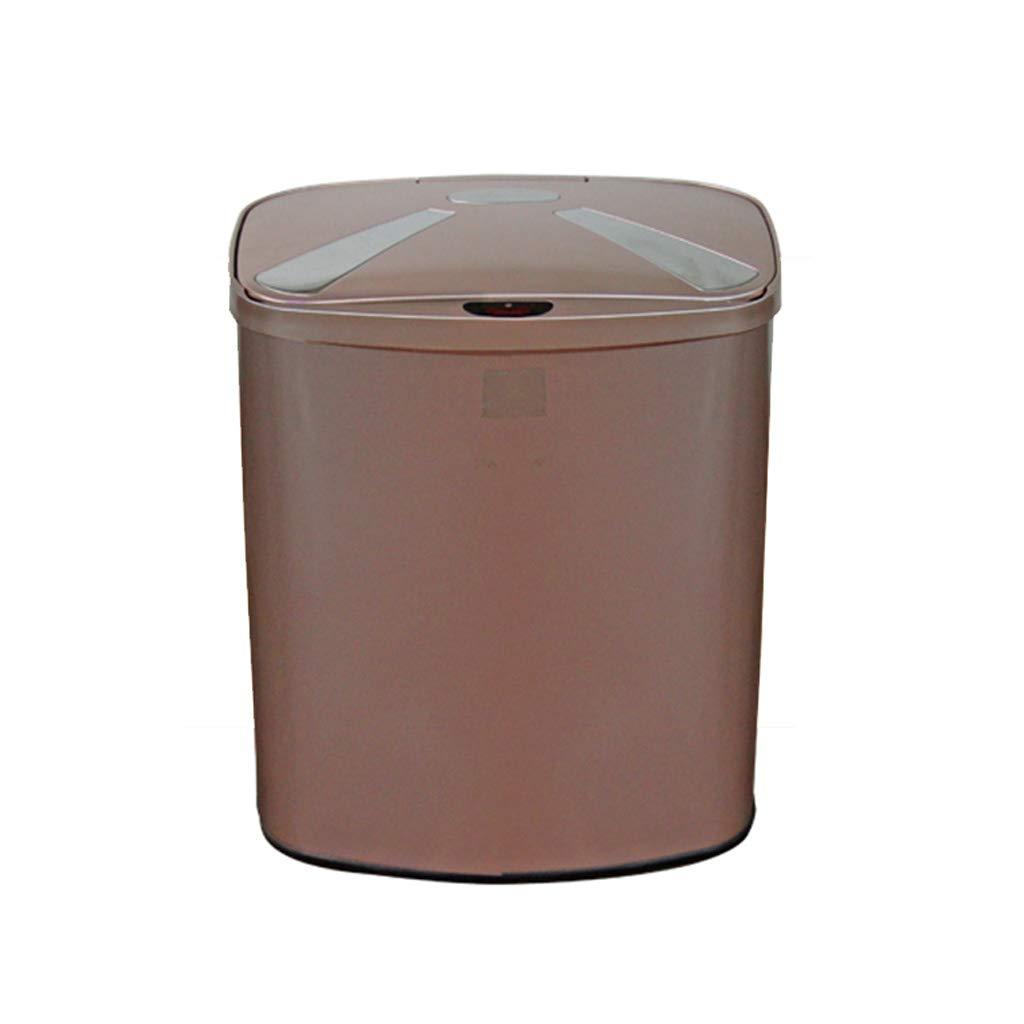 Trash Cans Intelligent Sensor Stainless Steel Household Hotel Kitchen Living Room Bathroom Office Smart Kitchen (Color : Brown, Size : 27.517.834cm)