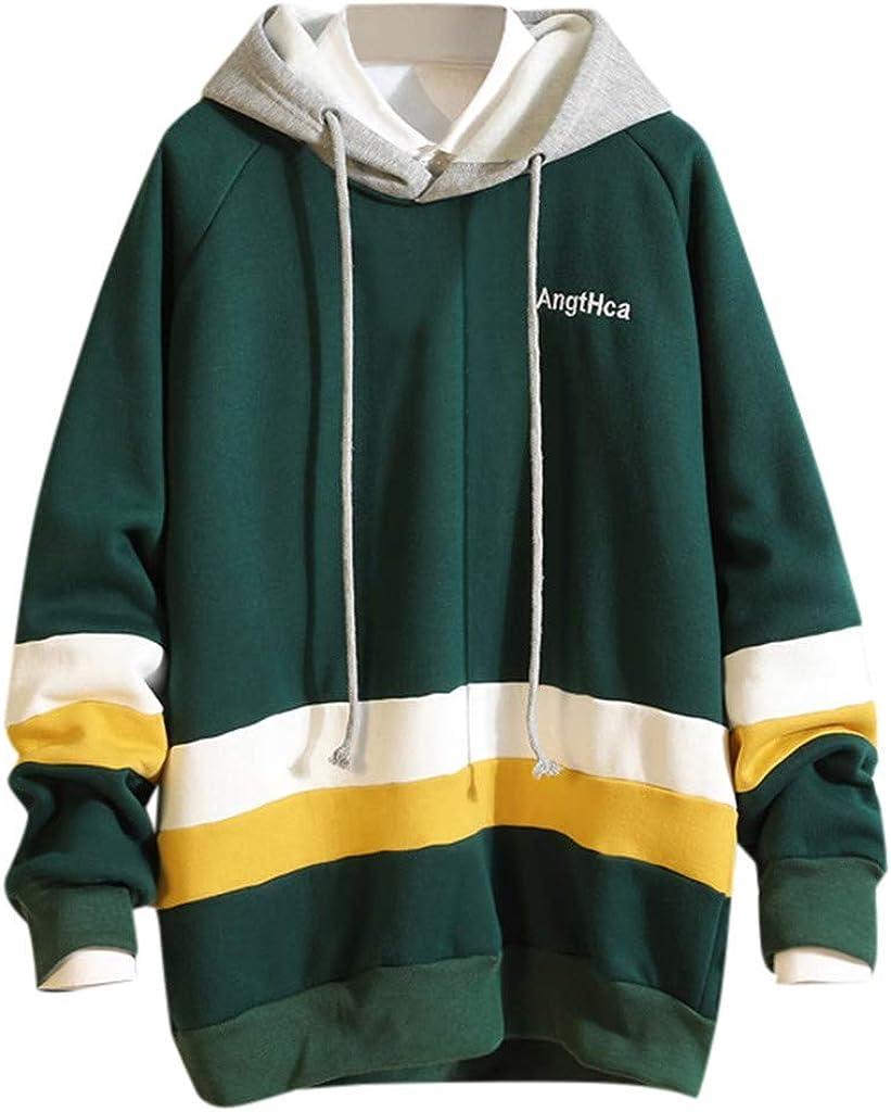 Zengjo Mens Pullover Hoodie Color Blocked Hooded Sweatshirts for Men