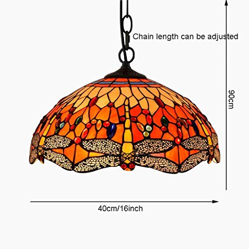 - G-D Ceiling Lamp Chandelier 16-Inch European Wrought Iron Balcony Warm Color Art Stained Glass Dragonfly Ceiling Light