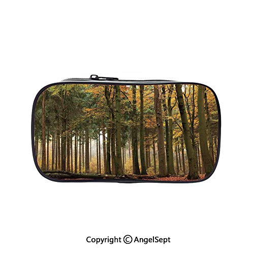 Cute Pencil Case - High Capacity,Mixed Color Autumn Jungle Romantic Dramatic Horizontal Mist November Scenery Brown Orange Green 5.1inches,Multifunction Cosmetic Makeup Bag,Perfect Holder for -