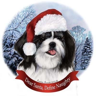Shih White Tzu Ornaments (Dog in Santa Hat Porcelain Hanging Howliday Ornament (Shih Tzu (Black and White)))