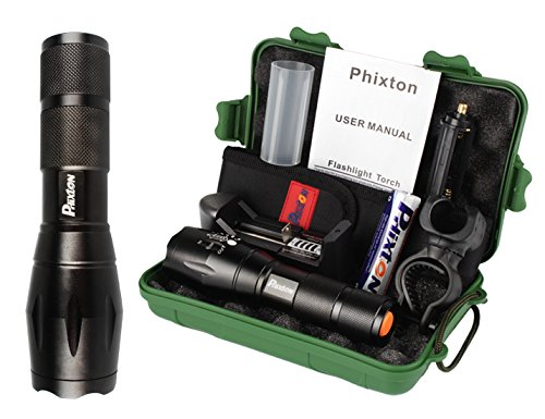Phixton Super Bright LED Tactical Flashlight Zoomable Adjustable Focus 5 Modes Waterproof Torch with Rechargeable 18650 Battery & Charger by PHIXTON