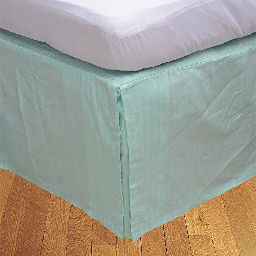 Finition élégante LaxLinens 550 fils 1 jupe plissée chute de lit Longueur    15 cm-Super Euro King-Aqua - 100%  coton