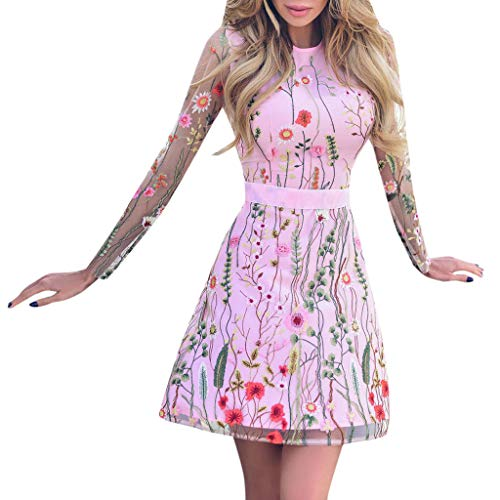 AgrinTol Women's Floral Embroidered Party Dress Lace Mesh Double Layer Mini Dress (XL, Pink)