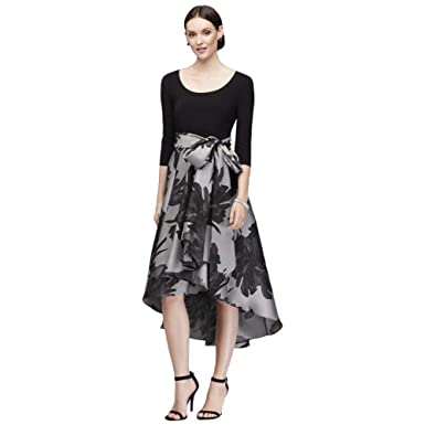 73af9757826 Printed High-Low 3 4 Sleeve A-line Mother of Bride Groom Dress with Sash  Style 3131 at Amazon Women s Clothing store