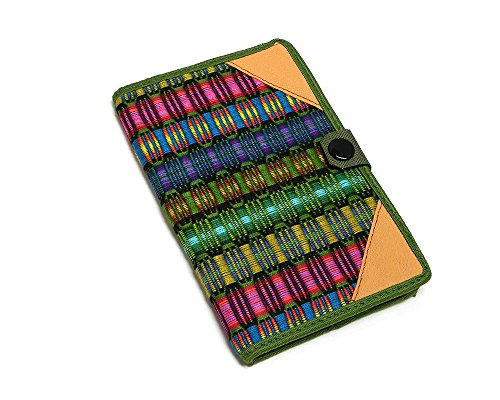 Gypsy Paper Pad - Small Multicolored Handwoven Striped Pattern Refillable Lined Sheet Paper Notebook Memo Pad Journal Cover with Pen Holder and Button Closure Travel School Office 6.5