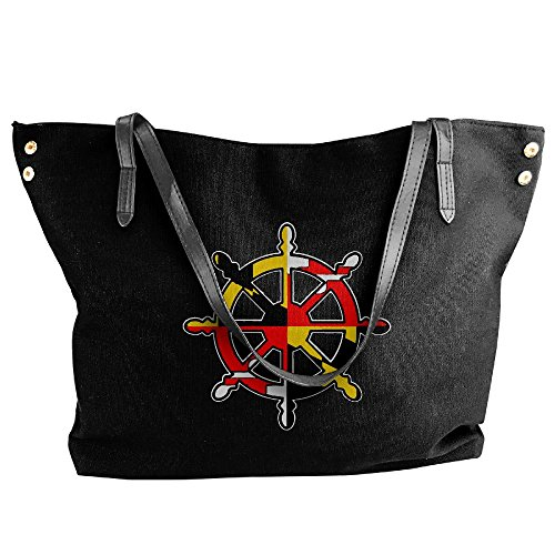 Bag Shoulder Tote Black Handbag Women's Flag Maryland Tote Ships Handbag Hobo Large Canvas Wheel wqtxxESP