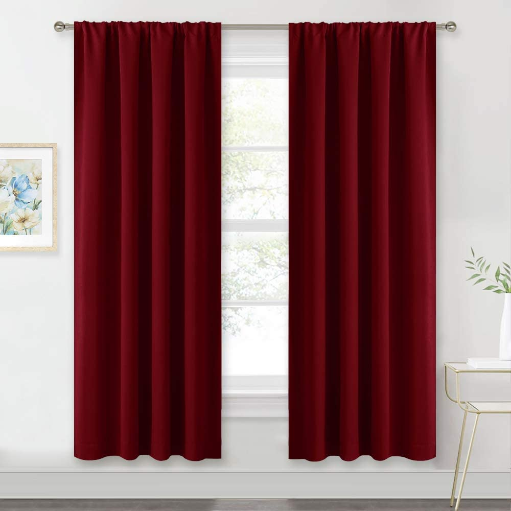 RYB HOME Red Curtains Blackout Window Covering Light Blocking UV Protection Draperies Window Treatments Shades for Babys' Room Nursery, 42 Wide by 72 Long, Burgundy Red, Set of 2