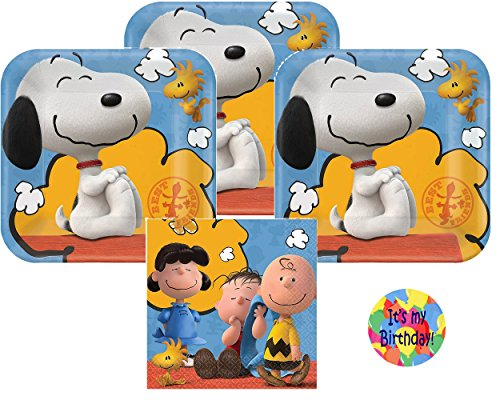 Peanuts Party Supplies for 16 - 16 Peanuts Dessert Plates with Snoopy and Woodstock (7 Inch), 16 Peanuts Napkins (5 Inch) and a Birthday Sticker (Bundle of 3 Different Items), Total 33 pieces (Snoopy Party Supplies compare prices)