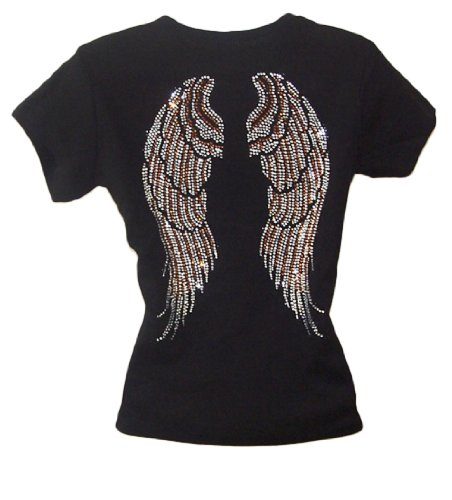 Angel Wing Rhinestone Black...